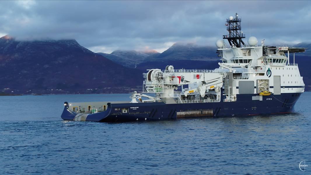 تسلمت Island Offshore سفينة Island Victory ، وهي سفينة تركيب بحرية جديدة ، في VARD Langsten اليوم. الصورة: الجزيرة البحرية / Droneinfo