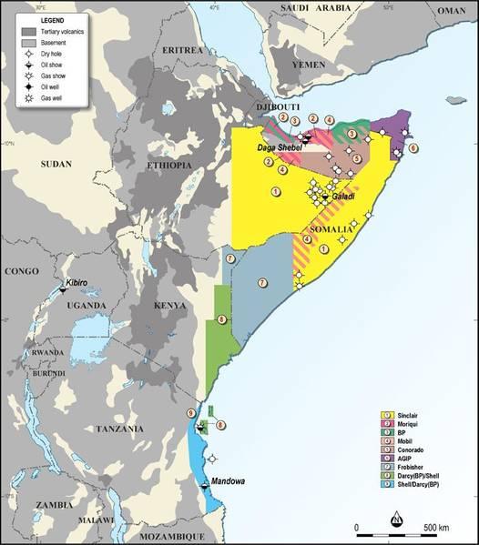 خريطة تُظهر كتل النفط البحرية الاستراتيجية في الصومال في شرق إفريقيا ؛ الائتمان ، جيو Expro.