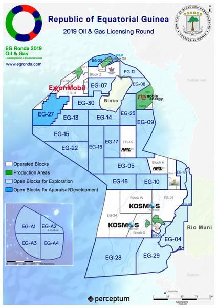 Alguns dos blocos de petróleo / gás na Guiné Equatorial (Imagem: Marathon Oil)