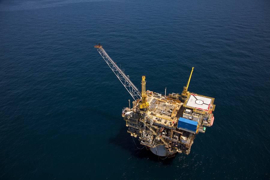 Caesar Tonga油田は憲法上のスパー浮遊生産施設に結び付けられています(Anadarko提供)
