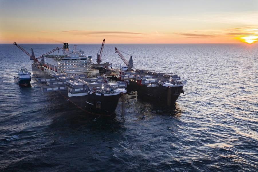 Pioneirismo na instalação de tubulações em águas suecas (Foto: Nord Stream 2)
