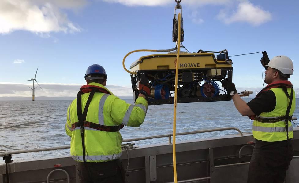 Rovco lanza un ROV en una encuesta de parques eólicos. Foto de Rovco.