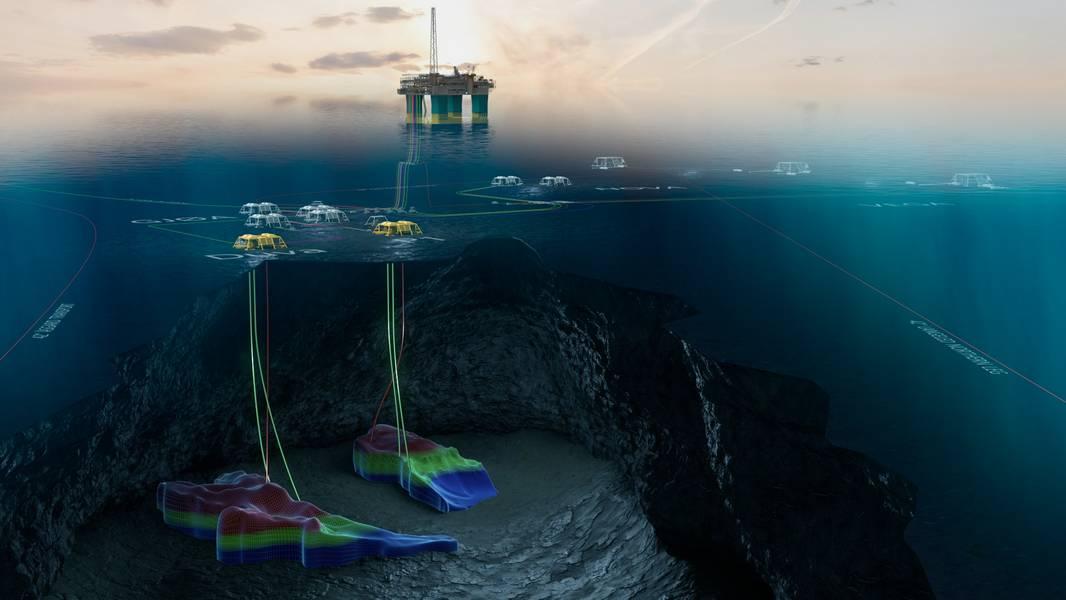 Uma ilustração do campo Gjøa e da plataforma Gjøa, com os modelos para os dois projetos de desenvolvimento Duva e P1 em amarelo (Imagem: Neptune Energy)