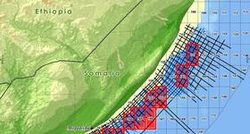 Some of the delineated offshore Somali blocks that were recently auctioned in London (Image: Spectrum)