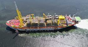 In July 2019 the Liza Destiny FPSO departs from Singapore where the conversion of the hull, as well as the construction and integration of the topsides, took place. (Photo credit: Lim Weixiang / SBM Offshore)