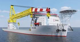 Wind, oil and gas: an impression of Jan de Nul's offshore capable new-build crane vessel, Les Alizes (Image: Jan de Nul)