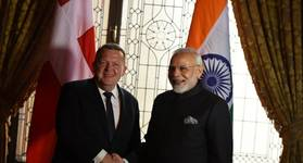 Indian PM Narendra Modi with the Prime Minister of Denmark Lars Løkke Rasmussen. Photo: PIB