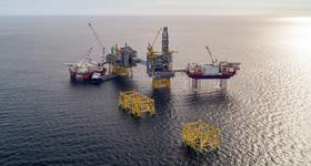 Johan Sverdrup field construction underway in 2018. Johan Sverdrup phase 1 is the second largest offshore project to be sanctioned since 2014. (Photo: Equinor)
