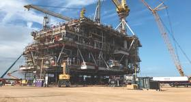 The Peregrino WHP-C platform at Kiewit's yard in Ingleside, Texas. It is slated to arrive in Brazil late this year and begin operations in late 2020. (Photo: Oscar Ayala/Equinor)