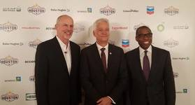Jeff Shellebarger, chairman of the 23rd WPC Organizing Committee; Tor Fjaeran, president of the World Petroleum Council; and Uwem Ukpong, vice president of global operations at Baker Hughes, following a press briefing. (Photo: Jennifer Pallanich)