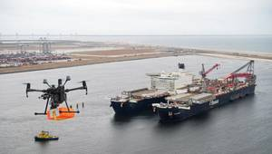 VIDEO: First Drone Delivery for World's Biggest Offshore Vessel