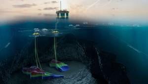 An illustration of the Gjøa field and Gjøa platform, with the templates for the two development projects Duva and P1 in yellow (Image: Neptune Energy)
