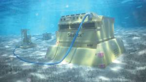 The Seabox subsea water treatment system, located on the seabed. (Image: NOV)