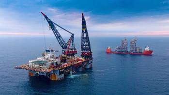 Martin Linge utility module installation by the heavy-lift vessel
