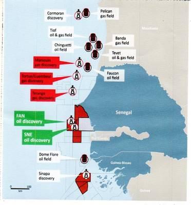 Μερικά από τα offshore μπλοκ της Σενεγάλης, όπου ανακαλύφθηκαν πρόσφατα ανακαλύψεις (Credit: FAR)