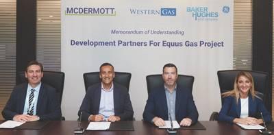 Η υπογραφή του MOU ήταν (από αριστερά) ο Ian Prescott, Ανώτερος Αντιπρόεδρος για την Ασία του Ειρηνικού, McDermott. Andrew Leibovitch, Εκτελεστικός Διευθυντής, Western Gas. Will Barker, Εκτελεστικός Διευθυντής της Western Gas. και η Maria Sferruzza, Πρόεδρος της Ασίας Ειρηνικού, Baker Hughes, μια εταιρεία της GE (Φωτογραφία: Western Gas)