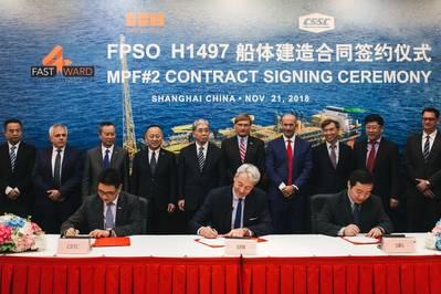 Церемония подписания контракта состоялась на судоверфи SWS 21 ноября 2018 года с участием представителей SBM Offshore, включая Бруно Чабаса (CEO), Бернарда ван Леггело (управляющий директор Китая) и Срджана Ценича (генеральный директор Китая), а также лей Фанпей , Председатель правления CSSC и Ван Ци, председатель правления SWS. (Фото: SBM Offshore)