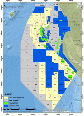 خريطة توضح الكتل التي سيتم الاستيلاء عليها خلال جولة الترخيص في الجابون الثانية عشرة. (الصورة: وزارة الغابون للهيدروكربونات)