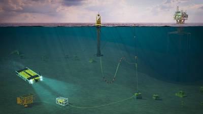 طاقة الأمواج PB3 PowerBuoy من تقنيات Ocean Power Technologies مصورة مع مرساة نقطة واحدة تدمج الطاقة ونقل البيانات المتصلة بمحلول بطارية تحت البحر ومحطة شحن AUV. تم تطوير هذا المفهوم باستخدام تطبيق Modus Seabed التدخل باستخدام Saab Seaeye Sabertooth AUV ، وقد تم تقديم هذا المفهوم لدراسة تمويل مشروعات التطوير والعروض التوضيحية من قبل حكومة الولايات المتحدة. (الصورة: الأراضي الفلسطينية المحتلة)