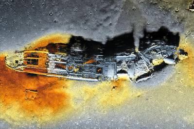 एक ह्यूजिन एयूवी सिस्टम द्वारा एकत्र किए गए जहाज़ की दुकान के हिसास 1032 सिंथेटिक एपर्चर सोनार छवि। (छवि: कॉंग्सबर्ग समुद्री)