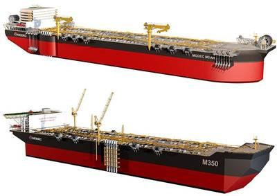 新推出的MODEC NOAH(上)和M350 FPSO设计(图片:MODEC)