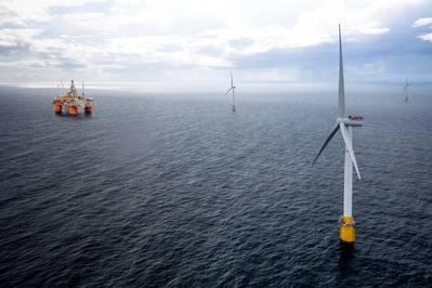 Wood已获得Equinor的合同,为挪威北海的一对海上平台进行改装,该平台将与浮动风力涡轮机的电力相连。图片:Equinor)