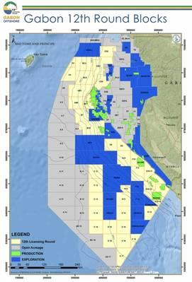 Algunos de los bloques de petróleo y gas costa afuera de Gabón bajo la 12ª ronda de licencias. (Imagen: Ministerio de Petróleo e Hidrocarburos)
