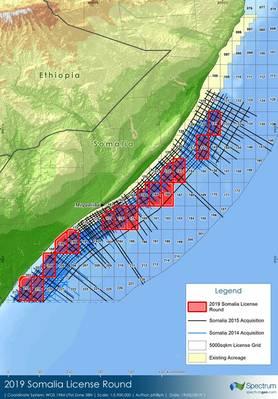 Alguns dos blocos offshore somalis delineados que foram recentemente leiloados em Londres (Imagem: Spectrum)