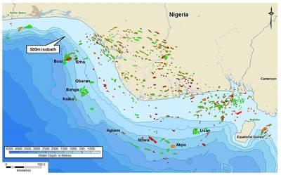 Campos petrolíferos da Nigéria mostrando o campo petrolífero de Agbami, no qual a NNPC é um parceiro comum. (Imagem: Telci Engenharia)