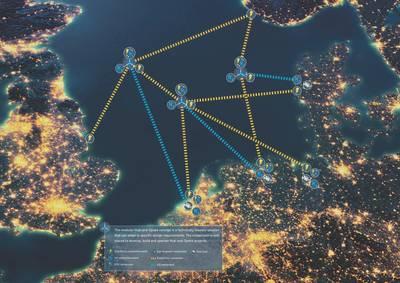 Der North Sea Wind Power Hub sieht eine Reihe von Hubs vor, die ein Netz über die Nordsee schaffen würden. (Bild: Das North Sea Wind Power Hub-Konsortium)
