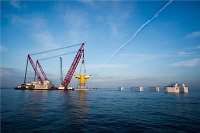 Fundación basada en la gravedad para el parque eólico marino Kriegers Flak en Dinamarca Instalación de KFBE Fotografía cortesía del Grupo Ian De Nul