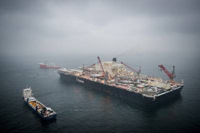 Gás para a Europa: um navio Allseas estabelece um gasoduto no Mar Báltico Oriental (© Nord Stream 2 / Axel Schmidt)