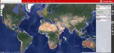 GulfMarkとTidewaterのグローバルなカバレッジ(Credit VesselsValue)