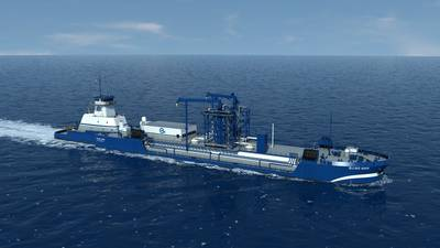 Imagen de archivo: El futuro buque de bunker ATB LNG de Harvey-Gulf (Q-LNG) implica una carta con Shell. IMAGEN: HGIM