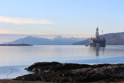 O Ocean Greatwhite, antes de partir para perfurar Blackrock e Lyon. (Foto: Elaine Maslin)