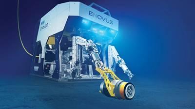 Oceaneering的电动工作级eNovus ROV,带有手持式工具界面。图片:Oceaneering)