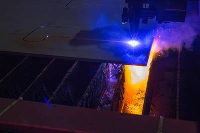 2018年3月,在中国上海的SWS船厂为SBM的第一艘Fast4Ward船体切割了第一块钢材。(照片:SBM Offshore)