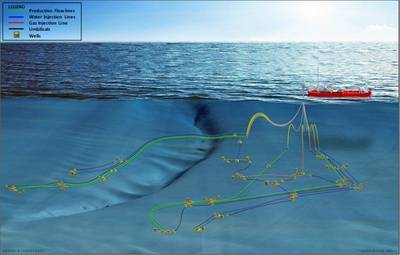 SNE subsea लेआउट (चित्र: वुडसाइड)