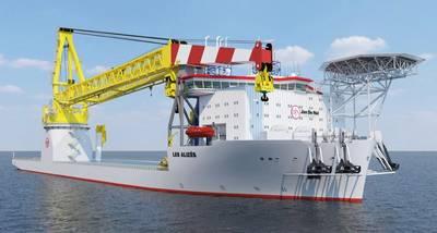 Viento, petróleo y gas: una impresión del buque grúa de nueva construcción en alta mar de Jan de Nul, Les Alizes (Imagen: Jan de Nul)