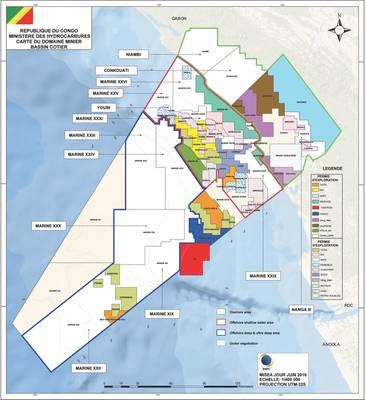 Os blocos de petróleo da República do Congo (Imagem: Ministério dos Hidrocarbonetos)