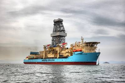 O navio-sonda Maersk Venturer, construído em 2014, permaneceu em Gana para completar o poço de produção Enyenra-14 da Tullow. (Foto: Maersk Drilling)