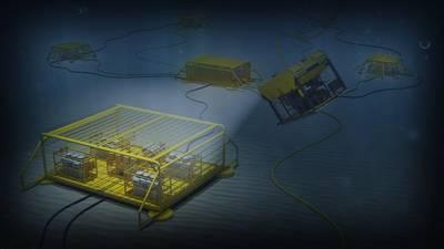 O novo sistema de tecnologia de distribuição e conversão de energia submarina desenvolvido pela ABB em parceria com a Equinor, Chevron e Total permitirá uma produção de petróleo e gás mais limpa, segura e sustentável. (Imagem: ABB)