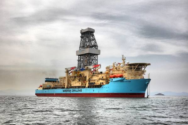 The 2014-built Maersk Venturer drillship has remained in Ghana to complete Tullow's Enyenra-14 production well. (Photo: Maersk Drilling)