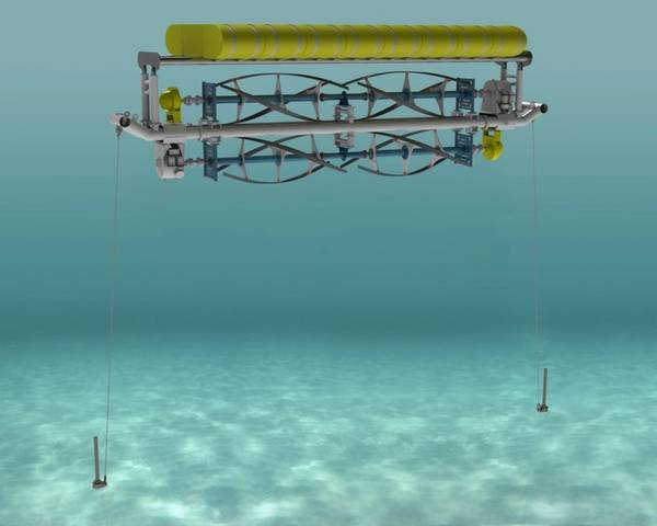 ORPC Advanced TidGen Project marine energy device with Sustainable Marine Swift Anchor anchoring system. Image courtesy Sustainable Marine's Swift Anchors division