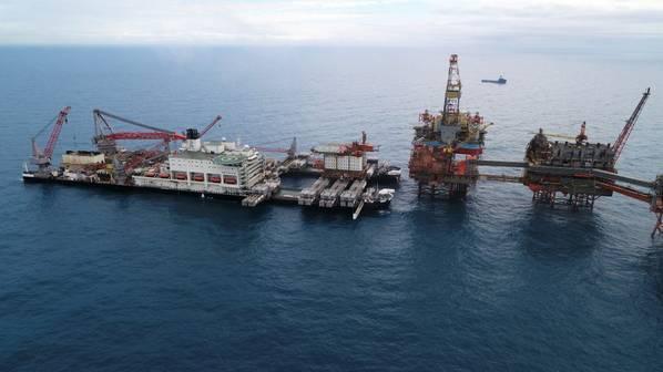 Allseas' Pioneering Spirit vessel removing the Valhall QP 3,800 t QP topsides in June 2019  - Image Credit: Allseas