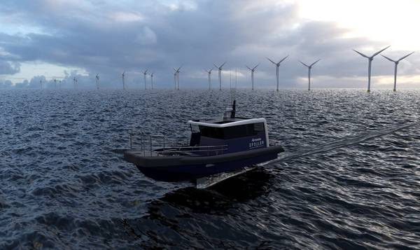 Artemis Technologies has revealed concept artwork of a crew transfer vessel (CTV) propelled by its transformative eFoiler (Image: Artemis Technologies)