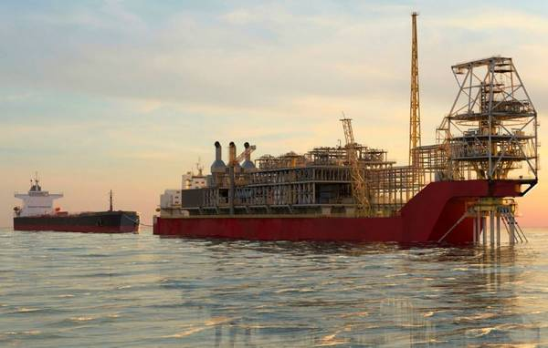 Artist impression of the FPSO for the Sangomar Field Development offloading oil to an offtake tanker / Image source: Woodside