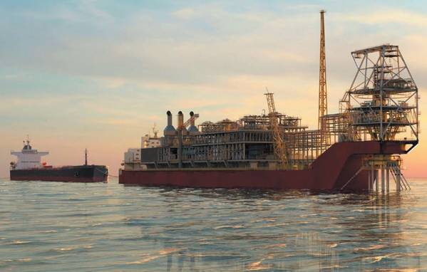 Artist impression of the FPSO for the Sangomar Field Development offloading oil to an offtake tanker; Image source: Woodside
