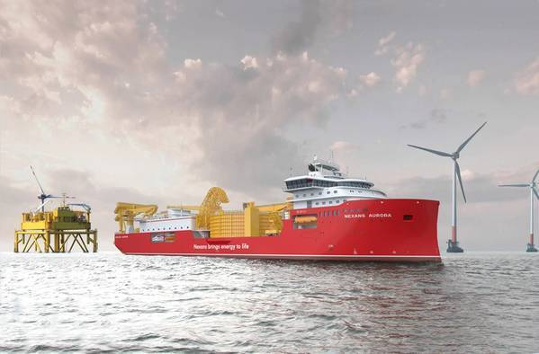 Artist's illustration of Nexans Aurora cable-laying vessel at an offshore windfarm. Credit: Nexans