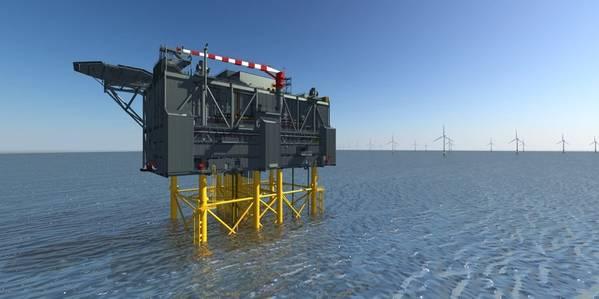 Artist's impression of Sofia Wind Farm's HVDC offshore converter platform